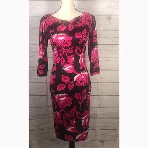 DVF | Floral Pink & Black 100% Silk Midi Dress